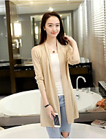 Women's Daily Casual Simple Cute Regular Cardigan,Solid V Neck Long Sleeve Others Summer Thin Micro-elastic