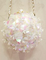 Women Evening Bag PU All Seasons Wedding Event/Party Formal Circle Flower Magnetic White