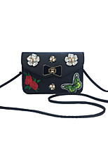 Women Mobile Phone Bag PU leatherette All Seasons Casual Event/Party Outdoor Sling Bag Rhinestone Embroidered Flower Clasp LockRed Black
