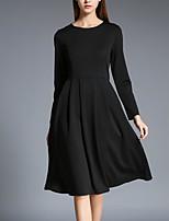 Для женщин На каждый день Большие размеры Винтаж Маленькое черное Платье Однотонный,Круглый вырез Средней длины Длинный рукав Хлопок Весна