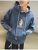Men's Daily Hoodie Solid Patterned Letter Hooded Inelastic Denim Long Sleeve Spring Fall