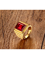 Men's  Vintage Personalized Classic Ruby Titanium Steel Square Ring Jewelry For Wedding Anniversary Party/Evening  Daily