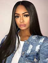 10-26 Inch Natural Remy Straight Wig Human Virgin Hair 130% Density Natural Black Color  For Black Women