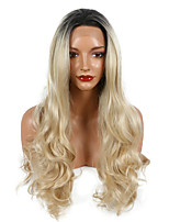 Natural Long Body Wave Black To Blonde Color Synthetic Wigs Heat Resistant Lace Front Wig
