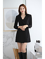 Women's Casual/Daily Sophisticated Winter BlazerSolid V Neck Long Sleeve Long CottonTops Type Bottom Type Suits Gender Style Occasion-Pattern Sleeve