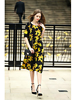 Women's Going out Casual/Daily Cute A Line Dress,Print Round Neck Midi Silk Spring Summer Mid Rise Inelastic Medium