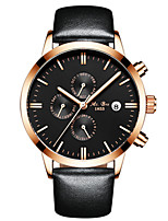 Men's Fashion Watch Mechanical Watch Automatic self-winding Calendar Water Resistant / Water Proof Leather Band Black