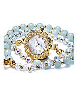Жен. Модные часы Кварцевый Защита от влаги Фосфоресцирующий Глубокий зеленый Группа Белый Синий