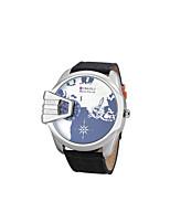 JUBAOLI Hombre Reloj Deportivo Reloj de Moda Reloj de Pulsera Chino Cuarzo Calendario Dos Husos Horarios Esfera Grande Tejido BandaCool