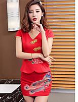 Women's Work Vintage Spring Summer Fall Shirt Skirt Suits,Floral V Neck Short Sleeve