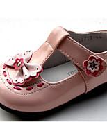 Girls' Flats Comfort Cowhide Spring Fall Outdoor Casual Walking Magic Tape Low Heel Blushing Pink Ruby Black Flat