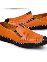 Men's Loafers & Slip-Ons Comfort Cowhide Nappa Leather Spring Casual Comfort Black Brown Blue Flat