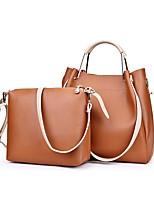 Damen Bag Sets PU Ganzjährig Barrel Bag Reißverschluss Schwarz Grau Wein Braun