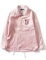 Dámské Jednobarevné Běžné/Denní Jednoduché Bunda-Jaro Polyester Košilový límec Dlouhý rukáv Standardní
