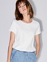 Damen Solide Einfach Alltag Normal T-shirt,Rundhalsausschnitt Kurzarm Baumwolle