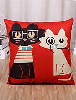 1 Pcs Cartoon Cute Kitty Printing Pillow Cover Square Pillow Case Sofa Cushion Cover