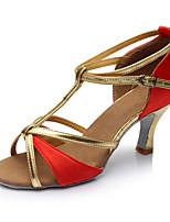 Personalizável Feminino Latina Cetim Sandálias Interior Salto Personalizado Vermelho