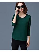 Tee-shirt Femme,Couleur Pleine simple Printemps Manches Longues Col Arrondi Coton