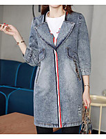 Women's Daily Modern/Comtemporary Spring Denim Jacket,Solid Shirt Collar Long Sleeve Long Others
