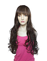 Capless Long Deep Wavy  Brown Synthetic Fiber Wig Heat Resistant Wig
