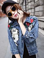 Women's Casual/Daily Simple Summer Denim Jacket,Print Shirt Collar Long Sleeve Regular Linen