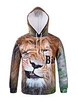 Men's Casual/Daily Simple Hoodie 3D Print U Neck Fleece Lining strenchy Nylon