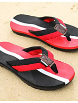 Men's Slippers & Flip-Flops Comfort PU Spring Casual Black Fuchsia Ruby Flat