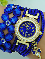 Women's Bracelet Watch Quartz Rhinestone Leather Band Flower Bohemian