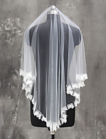 Свадебные вуали Один слой Фата до кончиков пальцев Кружевная кромка Тюль