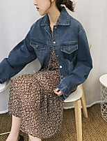 Women's Going out Vintage Spring Denim Jacket,Solid Stand Long Sleeve Regular Others