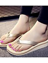 Damen Slippers & Flip-Flops Komfort PU Frühling Normal Komfort Gold Schwarz Silber Flach