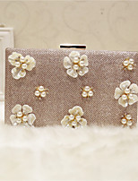 Women Evening Bag PU All Seasons Event/Party Casual Party & Evening Club Baguette Flower Clasp Lock Black Champagne