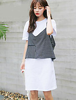 Women's Casual/Daily Simple Summer Tank Top Dress Suits,Striped Round Neck Short Sleeve