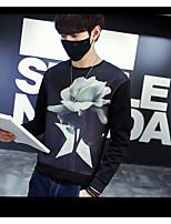 Men's Plus Size Casual/Daily Simple Sweatshirt Print Oversized Round Neck Fleece Lining Micro-elastic Cotton