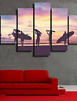 Art Print Beach Style,Five Panels Horizontal Print Wall Decor For Home Decoration