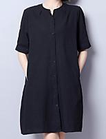 Feminino Solto Vestido,Casual Trabalho Tamanhos Grandes Vintage Simples Sólido Decote Redondo Acima do Joelho Manga Curta Linho Verão