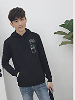 Men's Daily Hoodie Solid Pattern Hooded Inelastic Cotton Long Sleeve Spring Fall