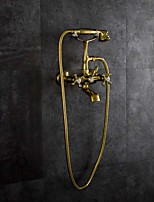Artistic Vintage Style Tub And Shower Rainfall Wall Mount Two Holes for  Gold , Bathtub Faucet