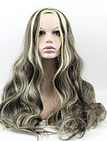 Blonde To Brown Color Synthetic Hair Women Long Wave Wig High Temperature Wigs