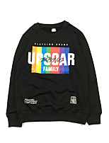 Men's Casual/Daily Sweatshirt Solid Letter U Neck Fleece Lining strenchy Cotton