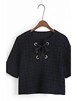 T-shirt Da donna Per uscire Casual Sensuale Semplice Moda città Estate,Ricamato Rotonda Cotone Manica lunga Sottile Medio spessore