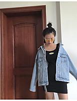 Women's Dailywear Vintage Fall Winter Denim Jacket,Solid Shirt Collar Long Sleeve Regular Others