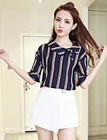 Women's Going out Casual/Daily Cute Shirt Pant Suits,Striped Cowl ½ Length Sleeve Chiffon