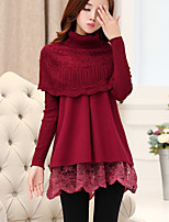 Women's Going out Casual/Daily Sheath Dress,Solid Crew Neck Mini Long Sleeve Polyester Summer Mid Rise Micro-elastic Medium