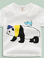 Casual/Daily Sports School Color Block Print Tee,Cotton Summer All Seasons Spring Short Sleeve Regular