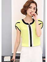 Women's Going out Vintage Blouse,Solid Round Neck Short Sleeve Others