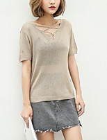 Women's Going out Short Pullover,Solid Round Neck Short Sleeve Cotton Spring Summer Thin Medium Micro-elastic