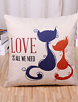 1 Pcs Cartoon Lovers Kitty Printing Pillow Cover Square Love Is All We Need Pillow Case Sofa Cushion Cover