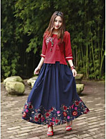 Women's Holiday Chinoiserie Shirt Skirt Suits,Floral Round Neck 3/4 Length Sleeve Embroidered Micro-elastic