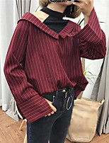 Women's Casual/Daily Sexy Simple Spring Summer Shirt,Patchwork Round Neck Long Sleeve Cotton Thin